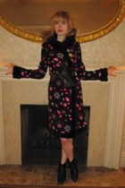 black Betsey Johnson coat - dark brown vintage belt - black loeffler randall boo