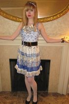 blue Anna Sui dress - black vintage chanel belt - silver Fenton-Fallon necklace