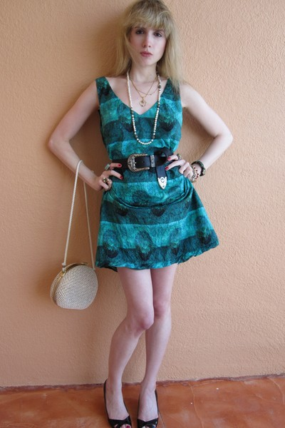 blue Piazza Sempione dress - black Vintage Ralph Lauren belt - gold Vintage cost