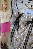eggshell pearl Moschino jacket - hot pink slip Rebecca Taylor intimate - dark gr
