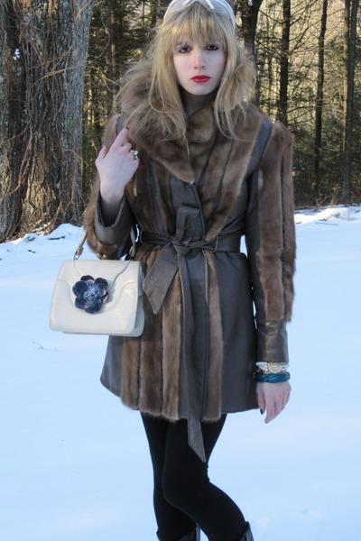 brown fur Vintage What Comes Around Goes Around coat