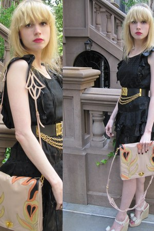 black star Anna Sui dress - peach tulip Miu Miu bag - salmon flower banana repub