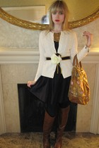 white Ralph Lauren sweater - blue 31 phillip lim dress - gold Vintage costume ea