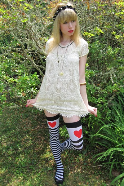 white crochet cynthia steffe dress - white heart Sock Theory socks