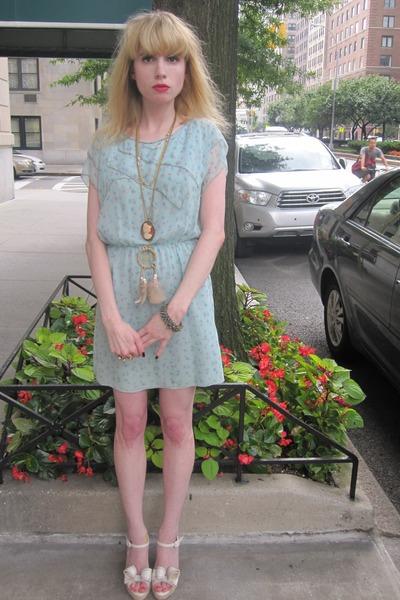 sky blue chiffon 31 Phillip Lim dress - burnt orange cameo vintage necklace