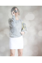 silver silver clutch H&M bag - brown H&M sunglasses - white white unknown skirt
