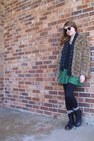 green polka dot Urban Outfitters dress - black combat doc martens boots