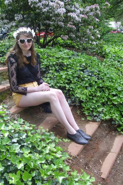 white heart giant vintage sunglasses - yellow yellow Boho Fairytale shorts