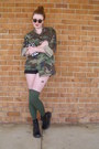 Army-green-camouflage-vintage-jacket-black-combat-target-boots