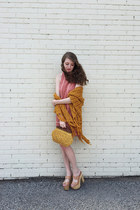 lace Urban Outfitters dress - yellow vintage purse - mustard knit vintage top
