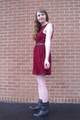 Maroon-lace-lulus-dress-black-western-charlotte-russe-boots