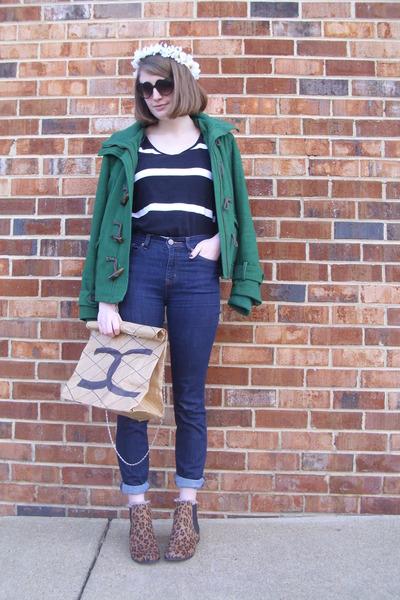 neutral paper Faux Chanel DIY bag - brown leopard print Target boots