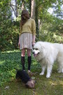 Gold-vintage-sweater-cream-terrier-print-lulus-dress