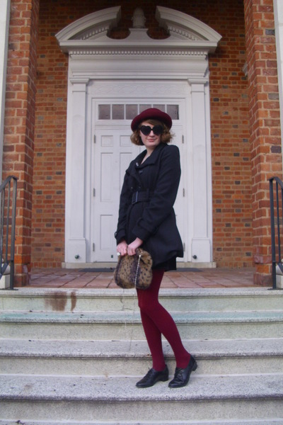 maroon vintage hat - black pea sears coat - maroon sweater H&M tights