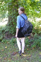 black school vintage bag - cream lace Delias tights - blue denim thrifted blouse