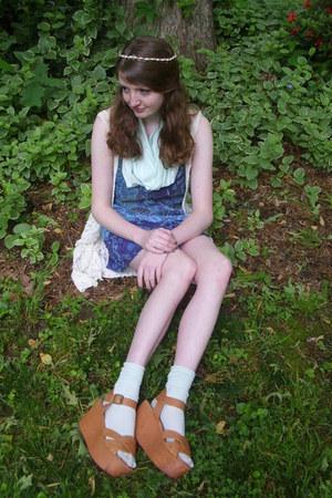 mustard platform Steve Madden sandals - blue bohemian Charlotte Russe dress