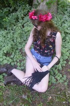 dark brown lace up Charlotte Russe boots - black fringe vintage bag