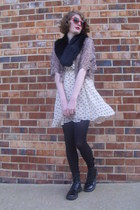 light brown lace Forever 21 top - black combat Target boots
