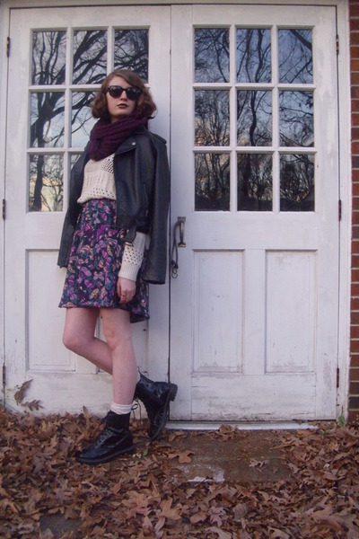 cream knit Forever 21 sweater - black combat Target boots