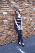 navy high waisted BDG jeans - black striped vintage top