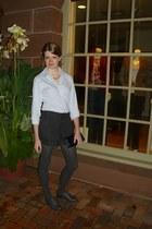 gray wool Forever 21 shorts - gray herringbone American Eagle tights