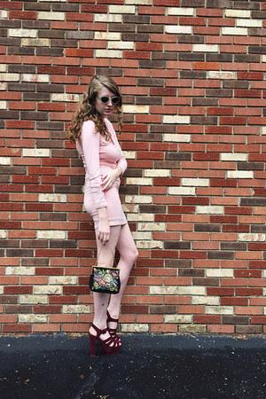 off white mod giant vintage sunglasses - light pink bodycon KJCouture dress