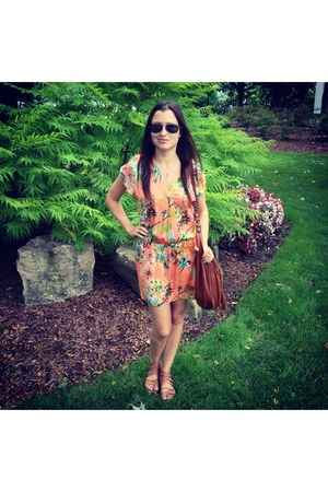 orange Zara dress - brown H&M bag - tan Target sandals