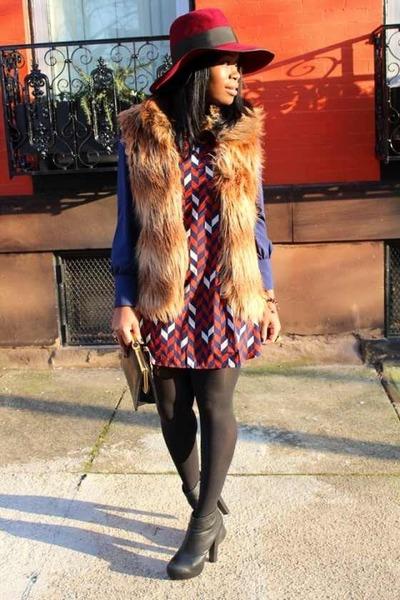 vintage hat - Forever 21 boots - Blu Pepper dress - Jack by BB Dakota vest