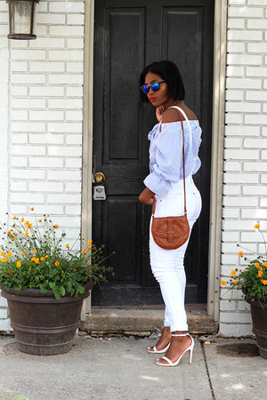 romwe blouse - asos jeans - Aldo sandals