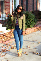 H&M jeans - madewell jacket - vintage shirt - Wild Soul sunglasses