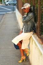 madewell jacket - madewell hat - Zara bag - Pedro Garcia sandals - BCBG skirt