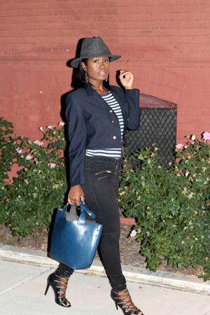 madewell jeans - vintage blazer - INC shirt - Zara bag - Schutz heels