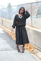 bee charming necklace - H&M sweater - Louis Vuitton bag - Schutz heels