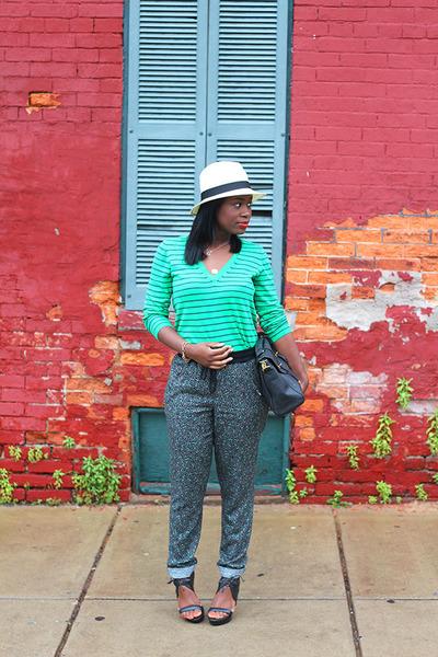 alloy hat - J Crew shirt - asos bag - Pour La Victoire sandals - Caslon pants