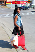 Zara jacket - Michael Kors bag - Gap vest - threadsence skirt - Zara t-shirt