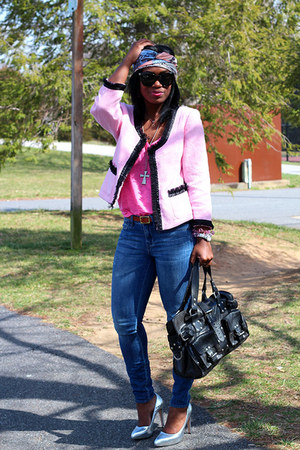 madewell jeans - INC blazer - madewell scarf - Mulberry bag