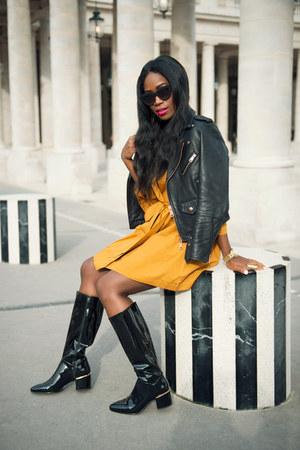 Zara boots - vintage dress - Club Monaco jacket - Quay Australia sunglasses