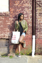 madewell jacket - Nasty Gal shorts - Cheap Monday sweatshirt - ASH sneakers