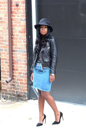 Zara hat - Club Monaco jacket - Dorothy Perkins skirt - Alice and Olivia pumps