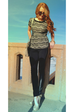 peplum Skies are blue shirt - leather panels Olive and Oak leggings