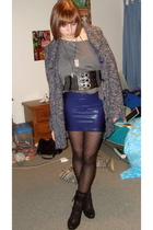 blue American Apparel skirt - black Forever XXI boots - black Forever 21 tights