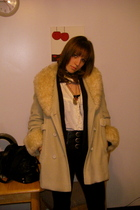 beige coat - black H&M pants - black Forever 21 belt - white top - black Forever
