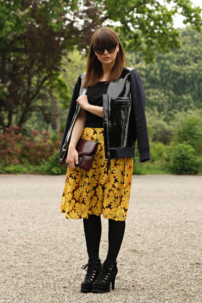OASAP skirt - romwe boots - Marni x H&M jacket - Beginningboutique sunglasses