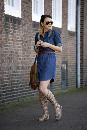 gladiator Zara sandals - Mango dress - fringe Mango bag