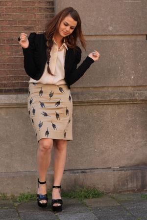 DIY Miu Miu skirt - Sonia Rykiel H&M shoes - Vero Moda blazer - vintage blouse