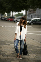 slip-on Sacha sneakers - Zara jeans - Zara blazer - Celine bag - cropped H&M top