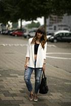 slip-on Sacha sneakers - Zara jeans - Zara blazer - Celine bag - cropped H&M top
