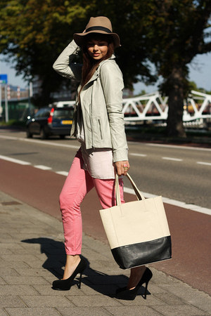 Alpinestars by Denise Focil jacket - VJ-style bag - YSL pumps - Zara pants