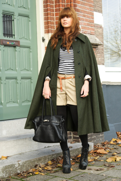 army green vintage coat - beige Bershka shorts - black LIta JC shoes