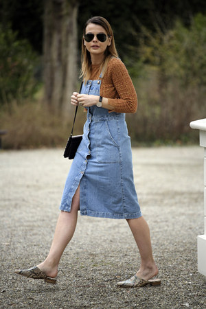 H&M shoes - denim overall Zara dress - Wild Tussah bag - ray-ban sunglasses